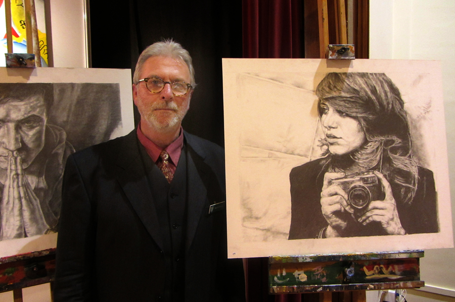 Brian Wyatt with work by A level student Emily Tse