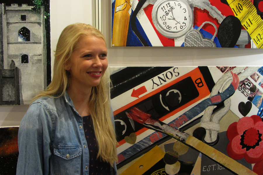 Anna Saunders with her painting.