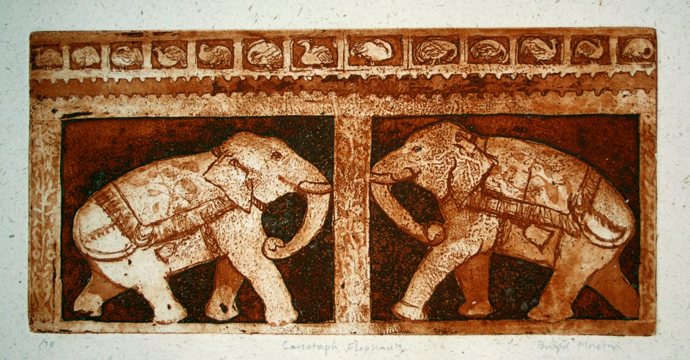 Elephants. Etching